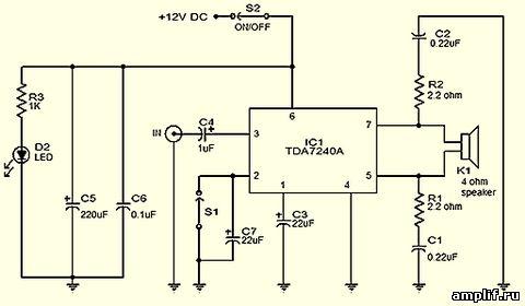 Схема принципиальная TDA7240