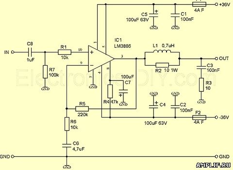 электрическая схема усилителя мощности