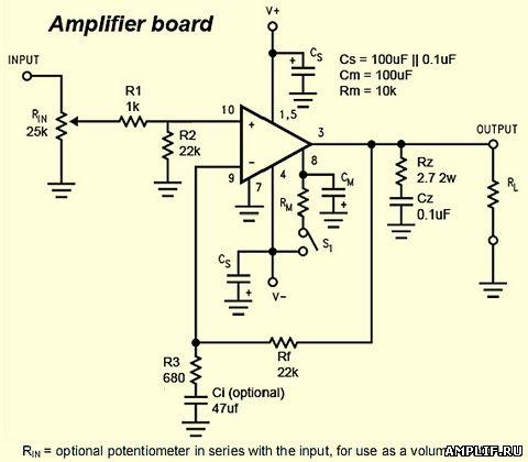 Электрическая схема УМЗЧ lm3886
