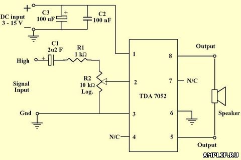 Схема усилителя на TDA7052