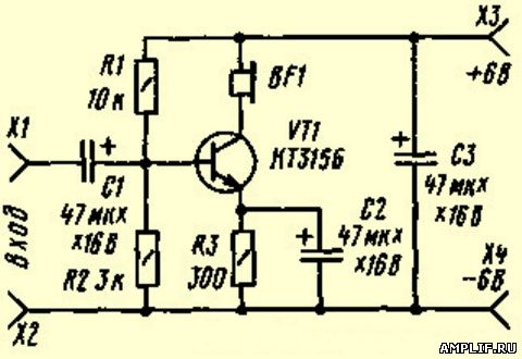 одном транзисторе - схема