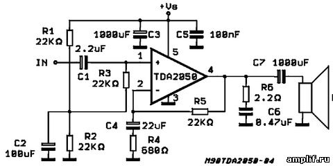 Схема tda2050 усилитель