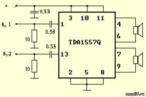 Можно юзать TDA1557q(стерео) и на саб типа TDA2050(моно).  20Вт на канал.